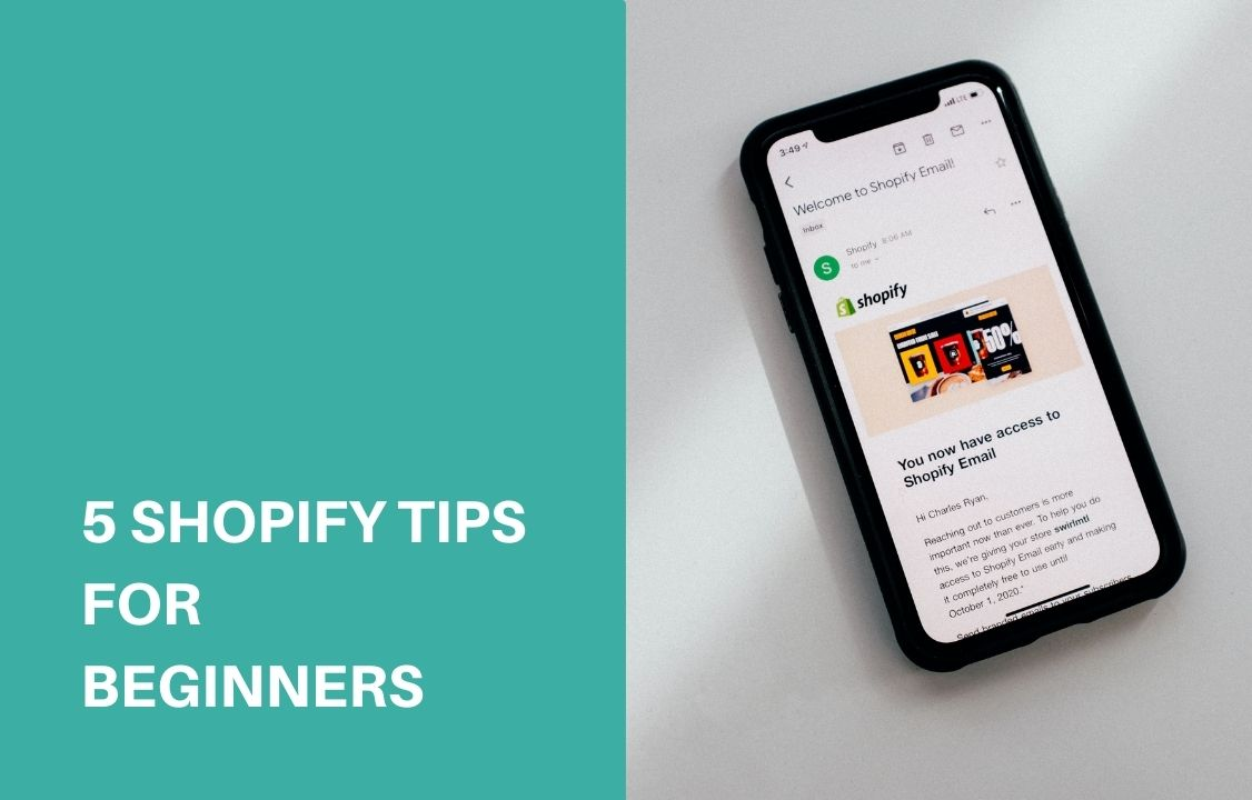 a black phone with shopify tips on the screen