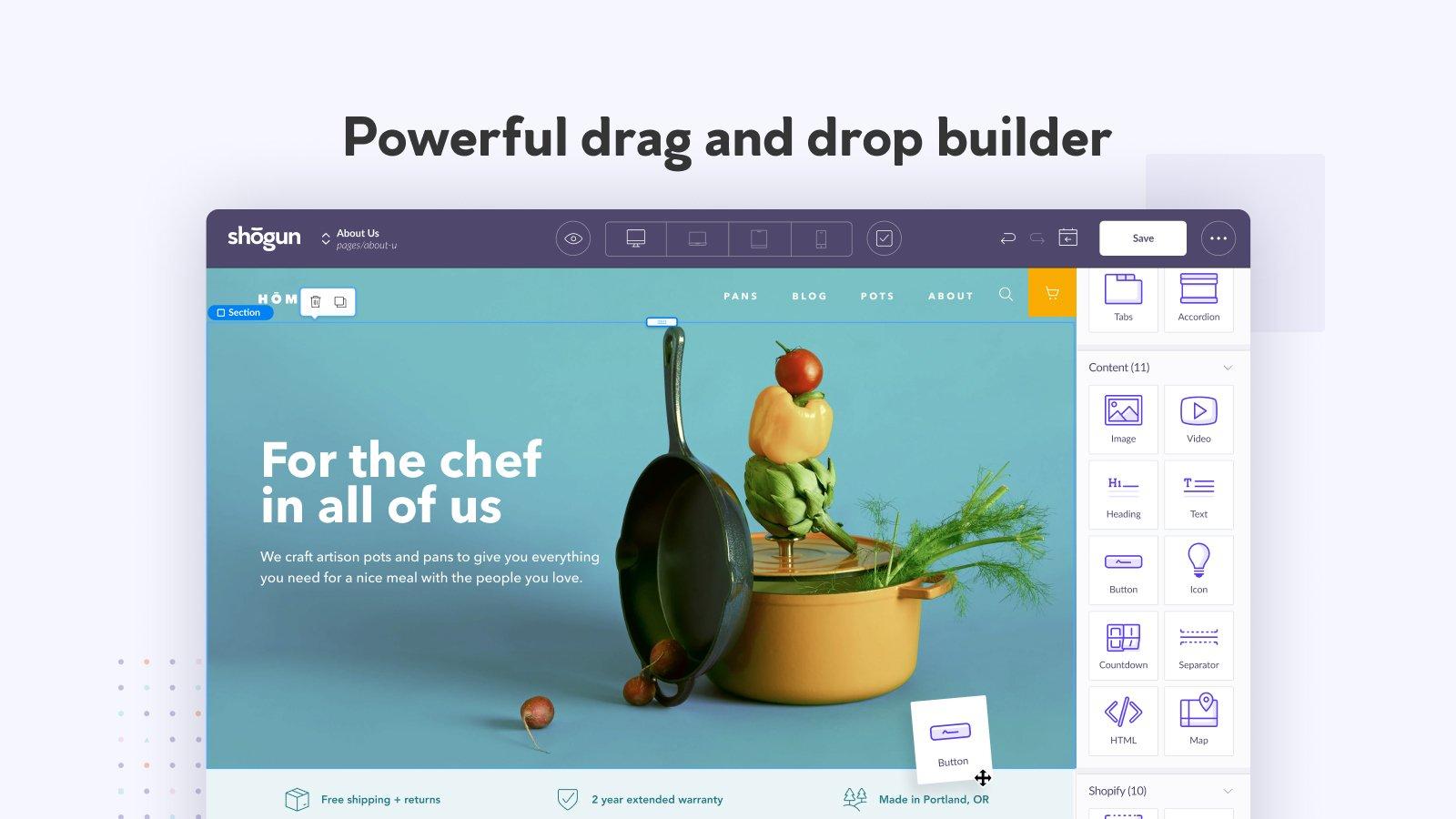 shogun landing page builder sample design
