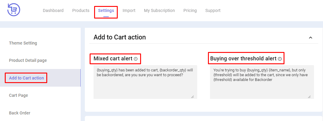 backorder Add to cart action