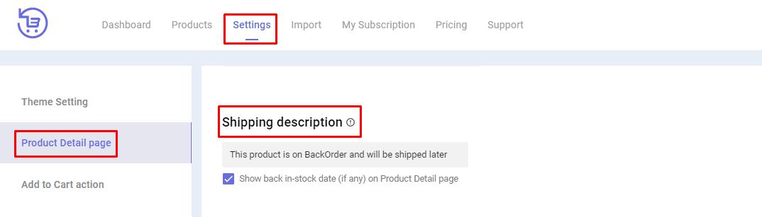 backorder Shipping description