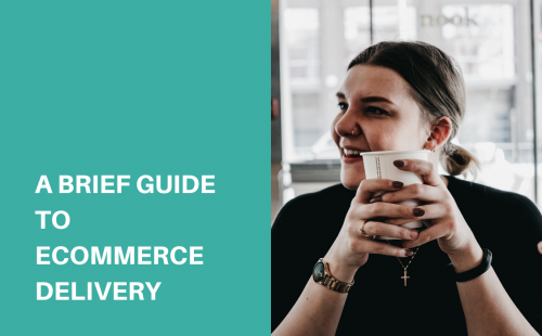 a woman in black shirt holding a cup of coffee talking about ecommerce delivery