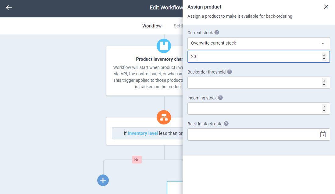 atom8 panel to assign product to backorder
