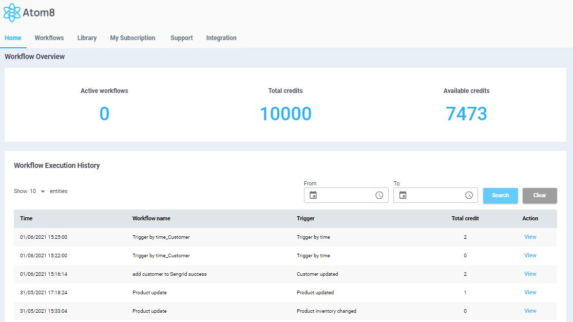 Atom8 workflow automation homepage on BigCommerce