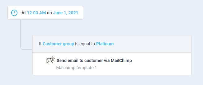 atom8 workflow to send email to platinum customers
