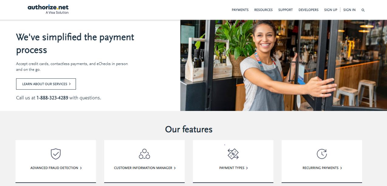 Authorize.net payment gateway website for Shopify merchants