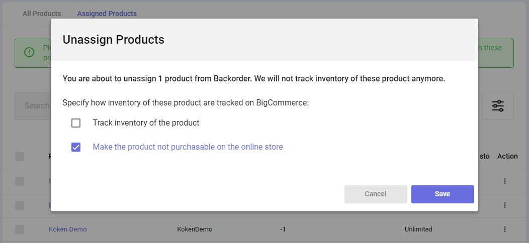 backorder makes product not purchasable after unassigning