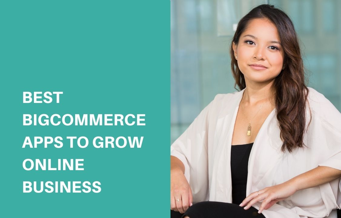 a woman wearing white cardigan talking about bigcommerce apps
