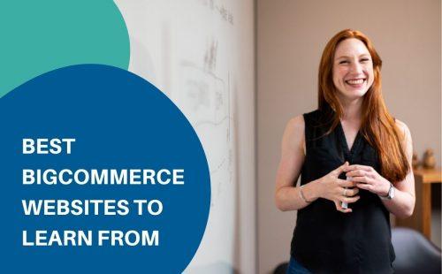 a woman smiling learning from bigcommerce websites