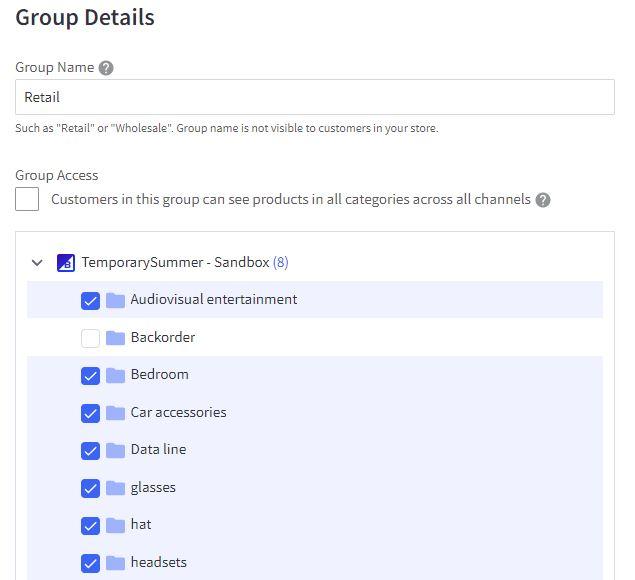 bigcommerce customer group category visibility