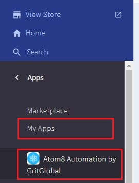 Atom8 automation in My Apps drop down