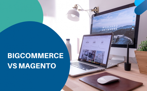laptop and desktop with ecommerce platform bigcommerce or magento on the screen