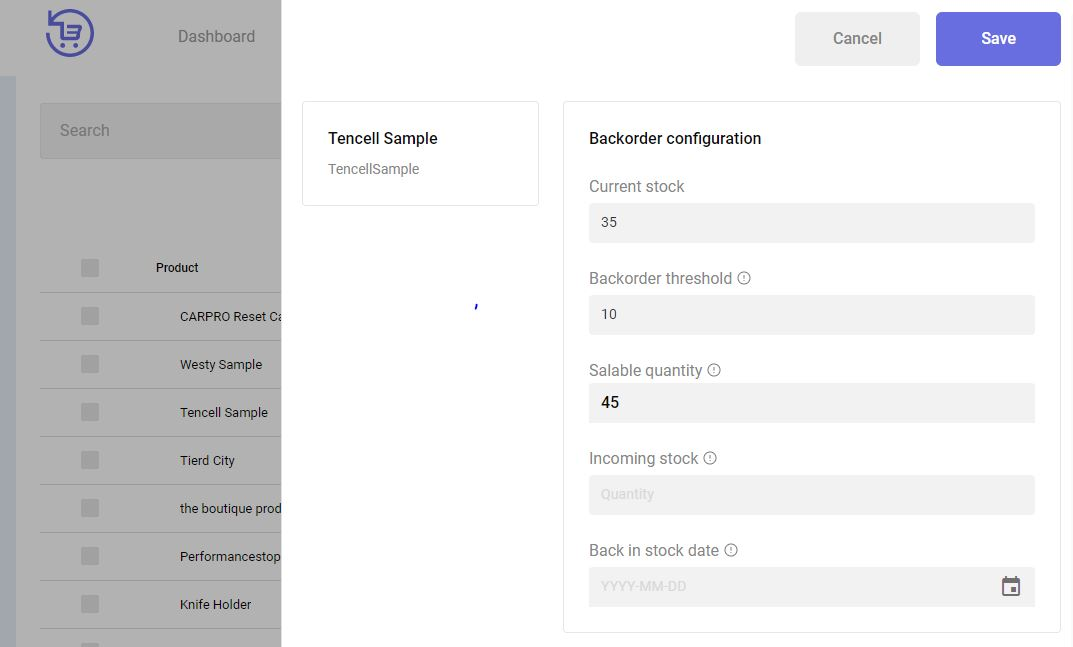 backorder assign product fill in data