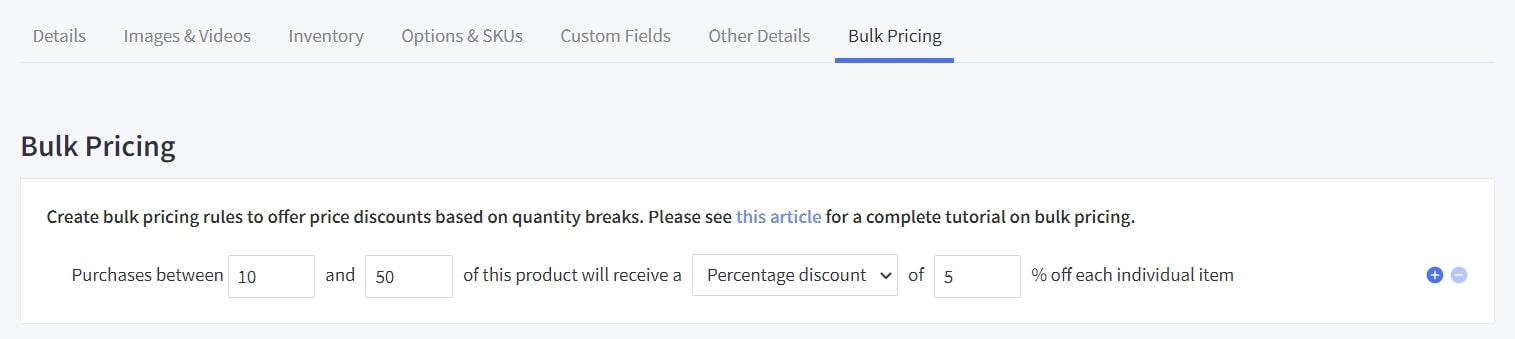 bulk pricing bigcommerce