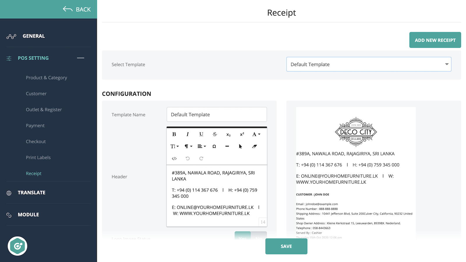 connectpos custom receipts for shopify stores
