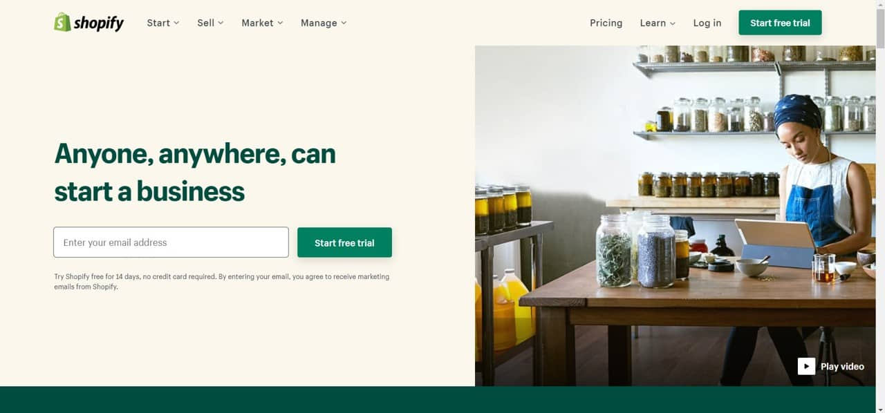 create shopify store