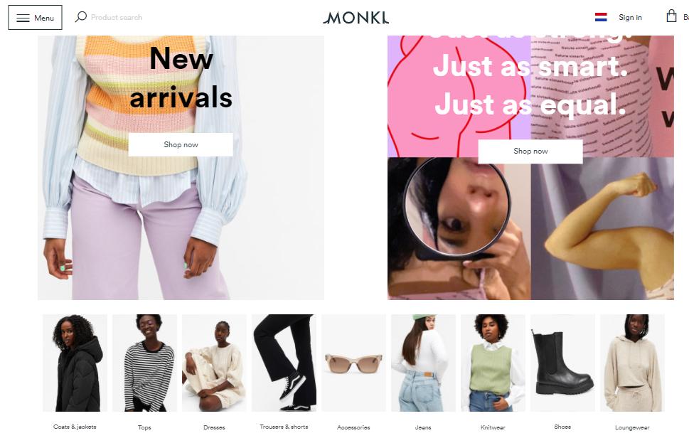Monki easy to navigate online merchandising startegies