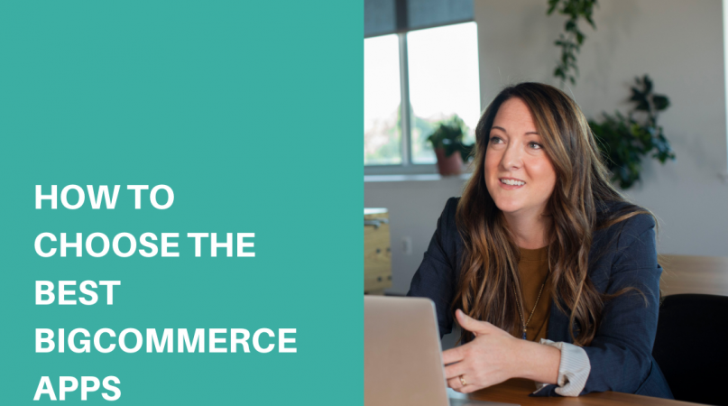 a woman in blue jacket using a laptop choosing the best bigcommerce apps