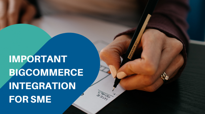 person writing on paper planning for bigcommerce integration