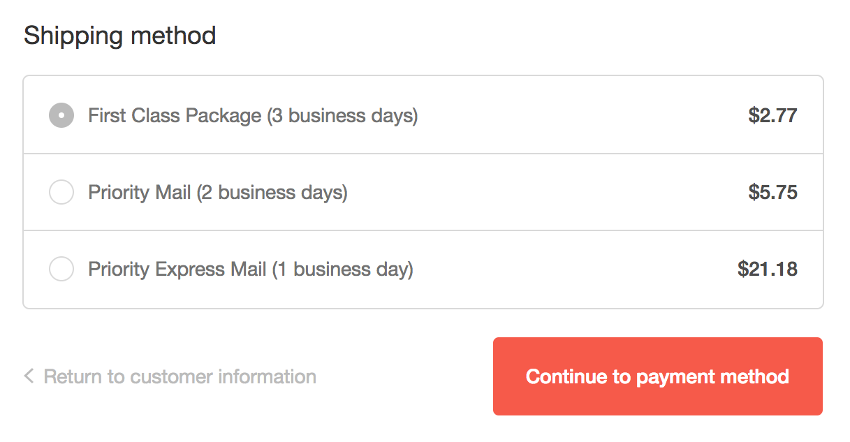A business uses 3 shipping options to avoid shopping cart abandonment
