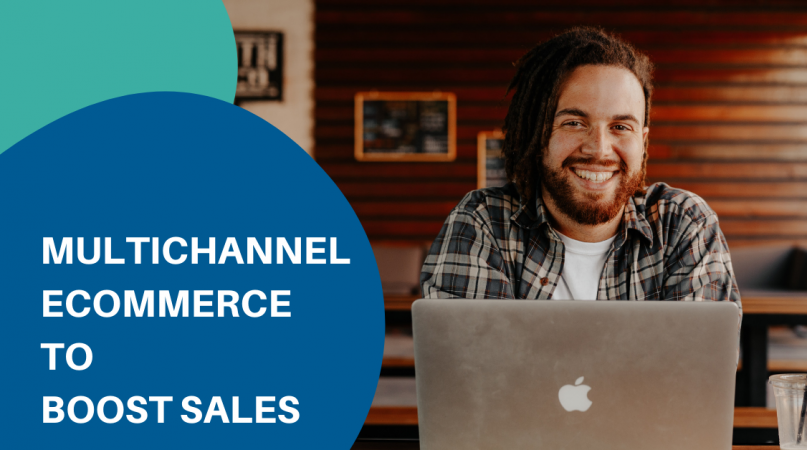 man in black and white stripped shirt smiling about multichannel ecommerce