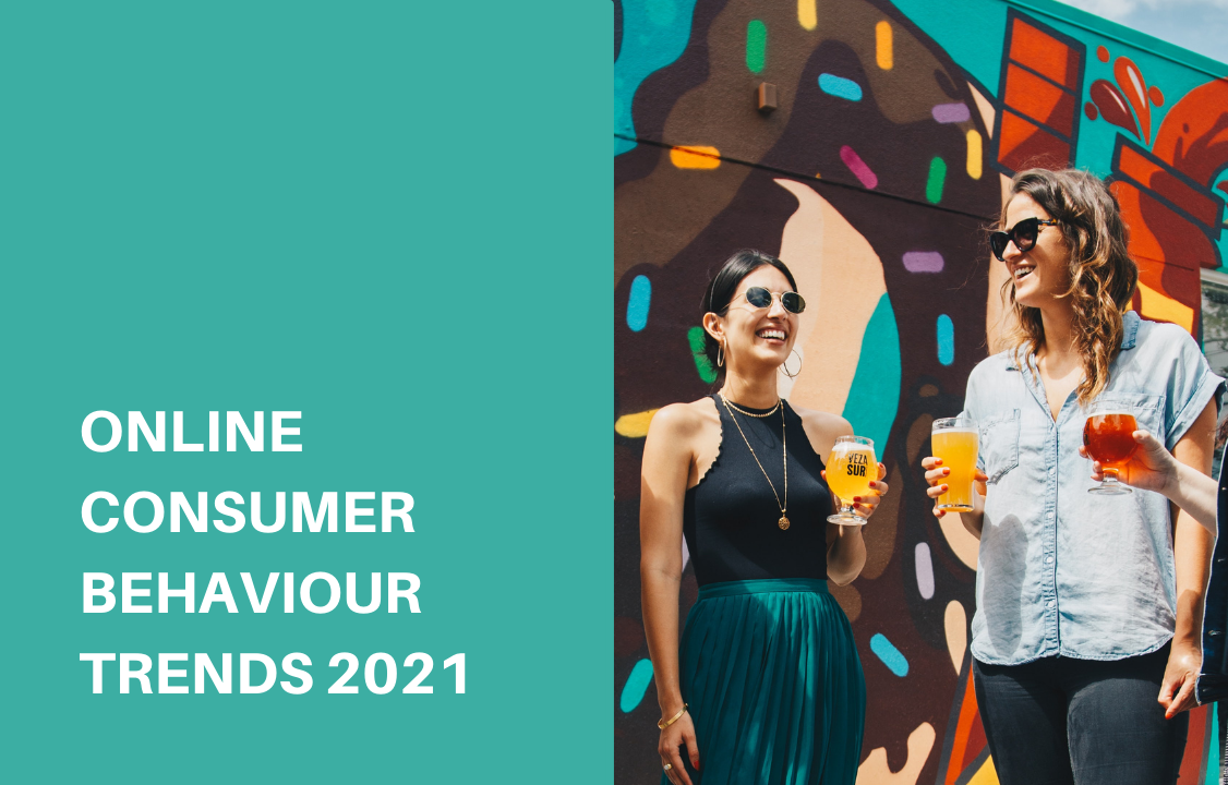female consumer behaviour of holding drink and laughing