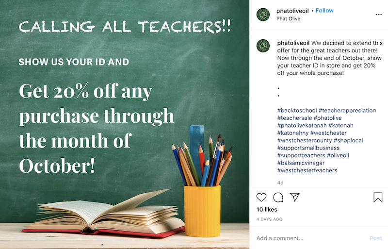 seasonal discount advertisement targeted at school teachers