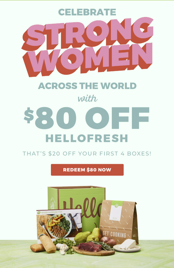 sales announcement for women only by hellofresh