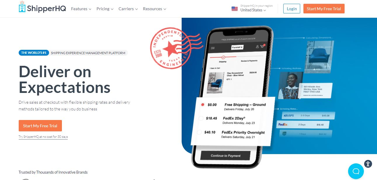 ShipperHQ delivery on expectation app