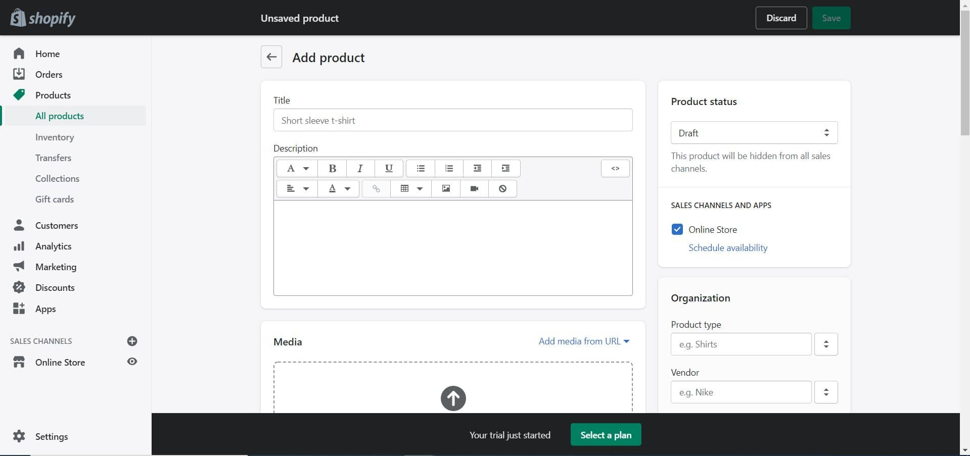 shopify add product