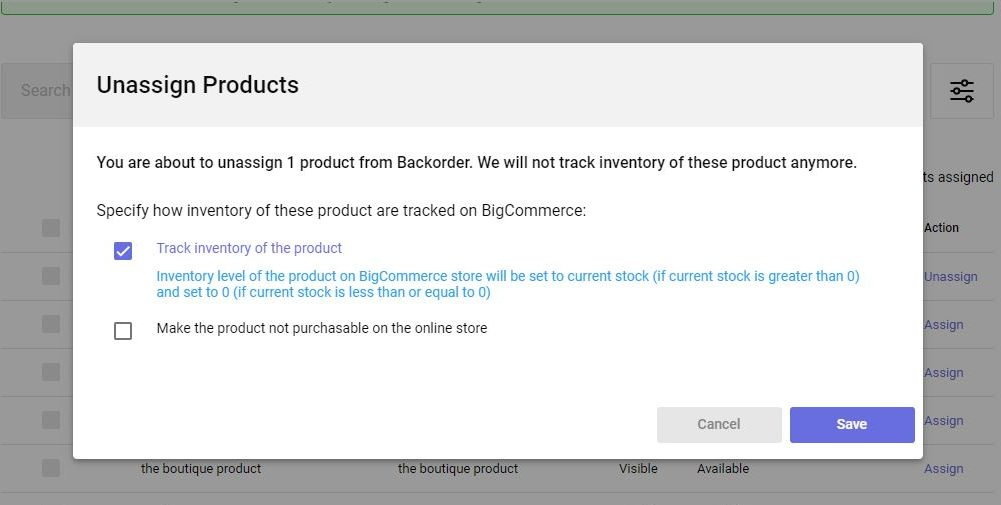 unassign products and rearrange inventory tracking