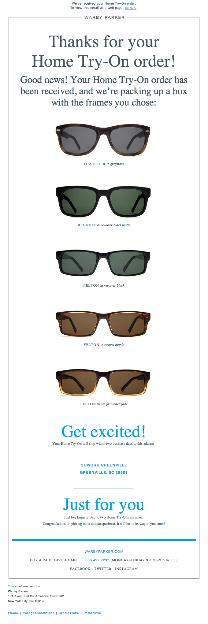 a thank you email by Warby Parker to its customers