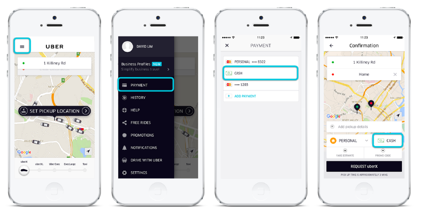 Uber using 3 payment options to avoid shopping cart abandonment