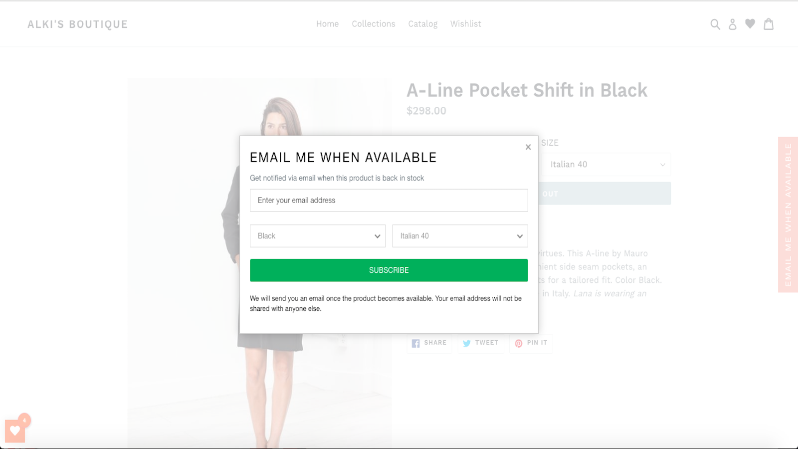 back in stock product alerts by swym demo