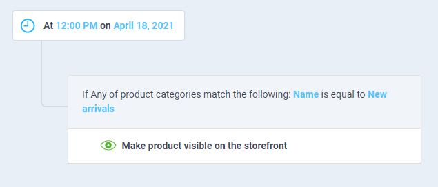 workflow to auto-publish product under sales categories